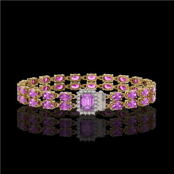 13.83 ctw Amethyst & Diamond Bracelet 14K Yellow Gold - REF-236G4W