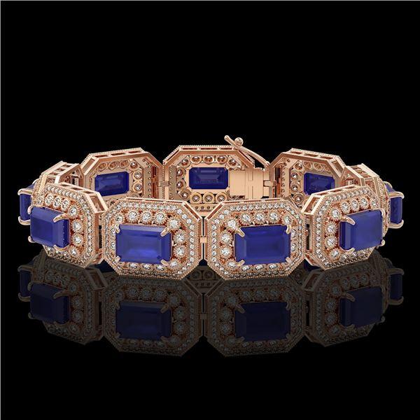 61.92 ctw Sapphire & Diamond Victorian Bracelet 14K Rose Gold - REF-1288Y4X