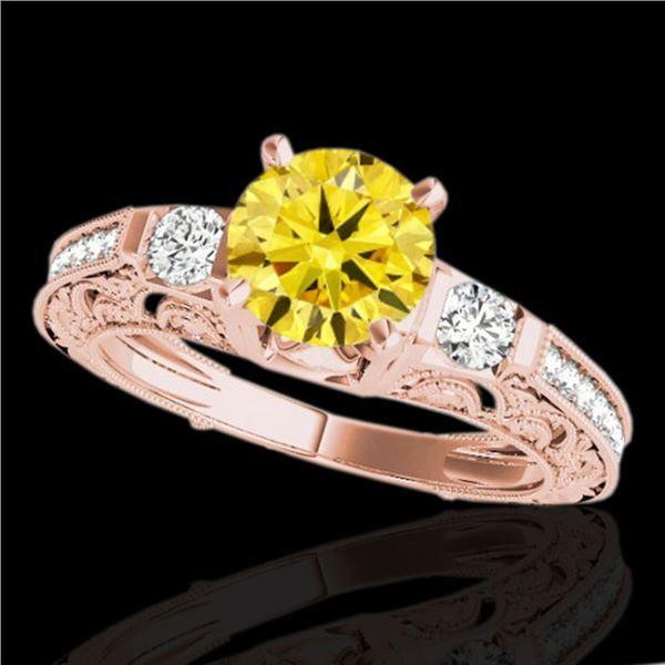 1.38 ctw Certified SI Intense Yellow Diamond Antique Ring 10k Rose Gold - REF-177K3Y
