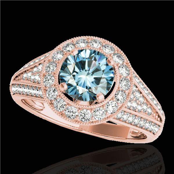 2.17 ctw SI Certified Fancy Blue Diamond Halo Ring 10k Rose Gold - REF-259M3G