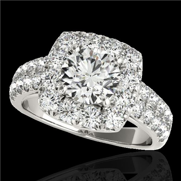 2.25 ctw Certified Diamond Solitaire Halo Ring 10k White Gold - REF-238H6R