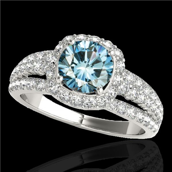 2 ctw SI Certified Blue Diamond Solitaire Halo Ring 10k White Gold - REF-135R2K