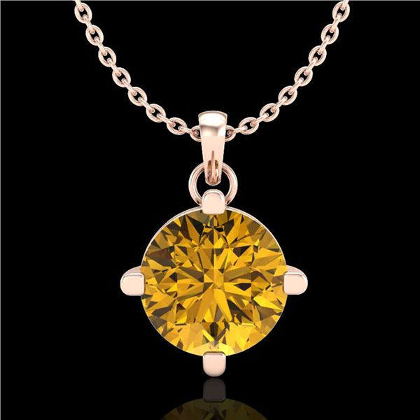 1 ctw Intense Fancy Yellow Diamond Art Deco Necklace 18k Rose Gold - REF-225X5A