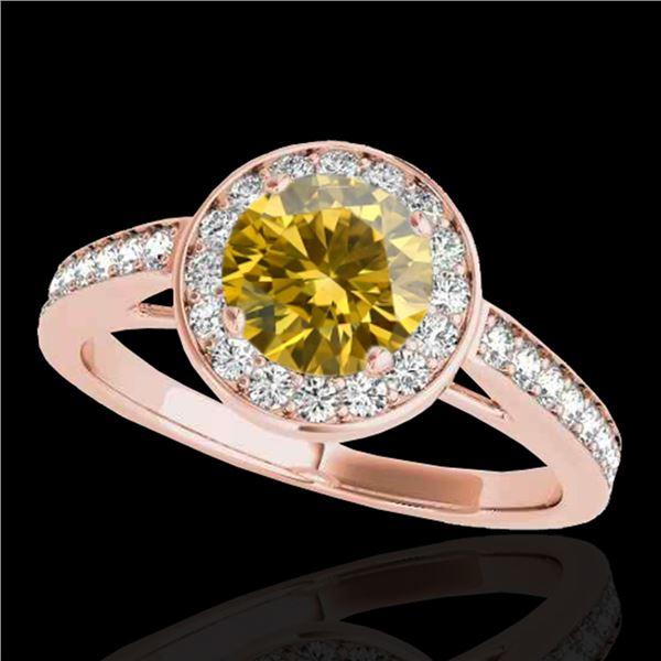 1.45 ctw Certified SI/I Fancy Intense Yellow Diamond Ring 10k Rose Gold - REF-163A6N