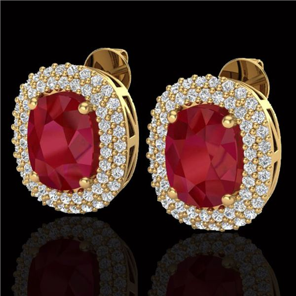 6.30 ctw Ruby & Micro Pave VS/SI Diamond Earrings 18k Yellow Gold - REF-160Y9X
