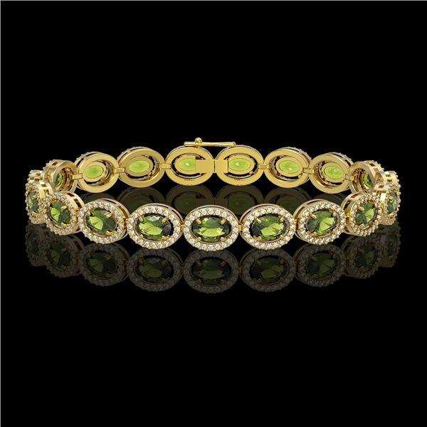 13.87 ctw Tourmaline & Diamond Micro Pave Halo Bracelet 10k Yellow Gold - REF-309R3K