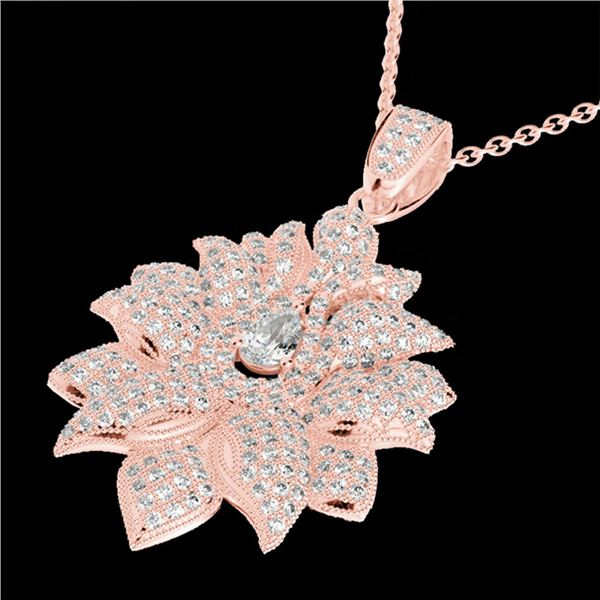 3 ctw Micro Pave VS/SI Diamond Designer Necklace 14k Rose Gold - REF-429G5W