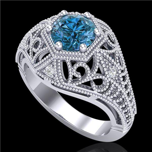 1.07 ctw Fancy Intense Blue Diamond Art Deco Ring 18k White Gold - REF-218R2K