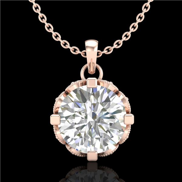 1.5 ctw VS/SI Diamond Solitaire Art Deco Stud Necklace 18k Rose Gold - REF-363X5A