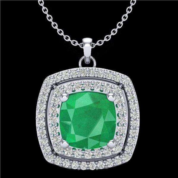 2.52 ctw Emerald & Micro Pave VS/SI Diamond Necklace 18k White Gold - REF-76H4R