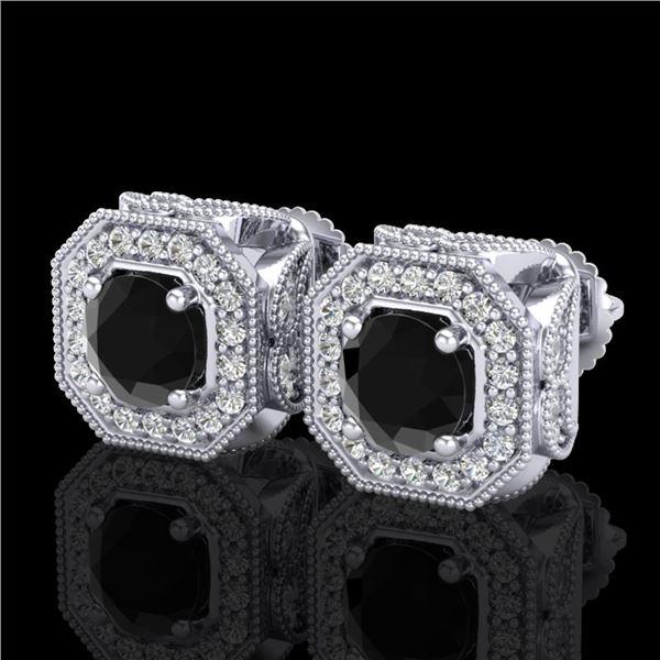 2.75 ctw Fancy Black Diamond Art Deco Stud Earrings 18k White Gold - REF-178G2W