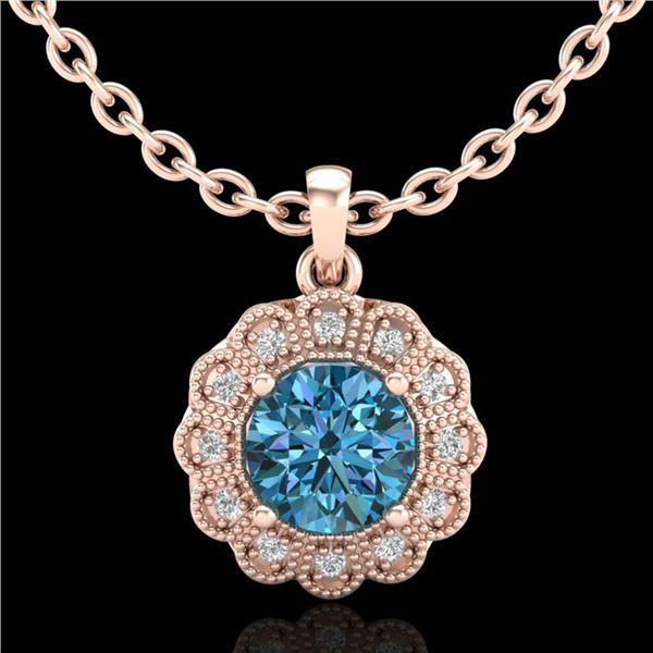 1.15 ctw Fancy Intense Blue Diamond Art Deco Necklace 18k Rose Gold - REF-218Y2X