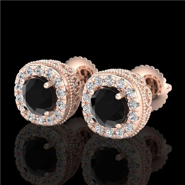 1.69 ctw Fancy Black Diamond Art Deco Stud Earrings 18k Rose Gold - REF-121A8N