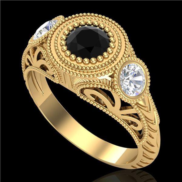 1.06 ctw Fancy Black Diamond Art Deco 3 Stone Ring 18k Yellow Gold - REF-123G6W