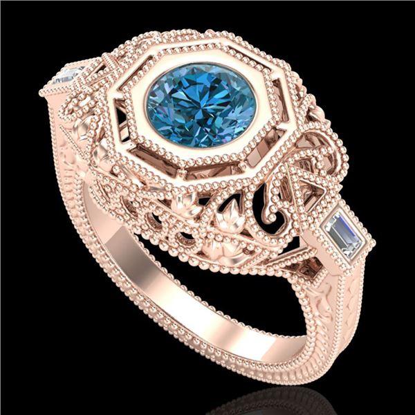 1.13 ctw Fancy Intense Blue Diamond Art Deco Ring 18k Rose Gold - REF-240N2F