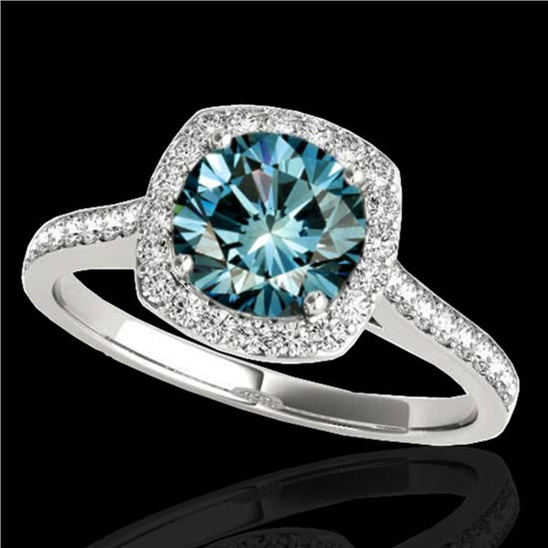 1.4 ctw SI Certified Fancy Blue Diamond Solitaire Halo Ring 10k White Gold - REF-132K3Y