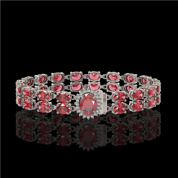 26.92 ctw Tourmaline & Diamond Bracelet 14K White Gold - REF-336R4K