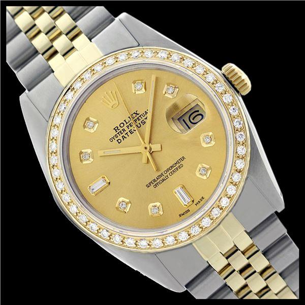 Rolex Men's Two Tone 14K Gold/SS , QuickSet, Diamond Dial & Diamond Bezel