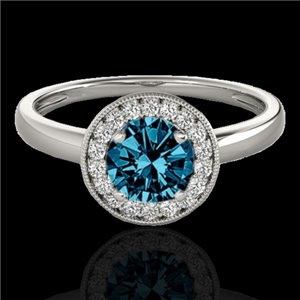 1.15 ctw SI Certified Fancy Blue Diamond Halo Ring 10k White Gold - REF-132A3N