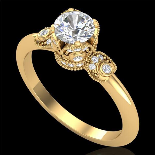 1 ctw VS/SI Diamond Solitaire Art Deco Ring 18k Yellow Gold - REF-143W6H