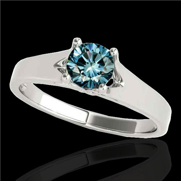 1.5 ctw SI Certified Fancy Blue Diamond Solitaire Ring 10k White Gold - REF-225K2Y