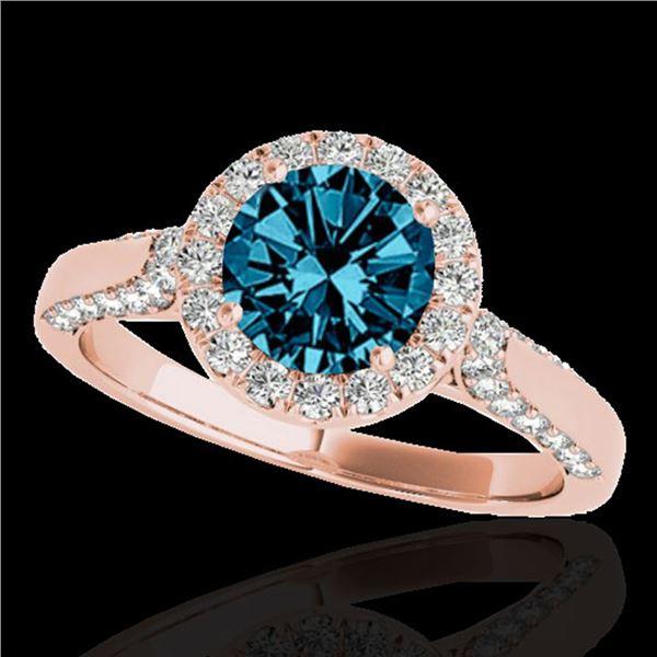 2.15 ctw SI Certified Fancy Blue Diamond Halo Ring 10k Rose Gold - REF-252H3R