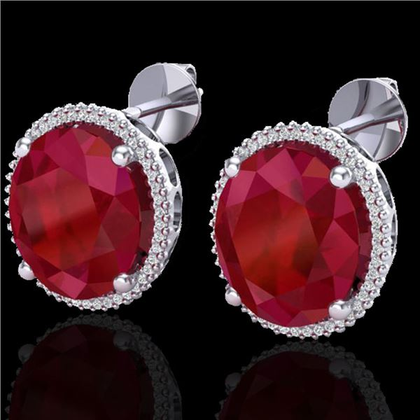 25 ctw Ruby & Micro Pave VS/SI Diamond Earrings 18k White Gold - REF-254Y5X