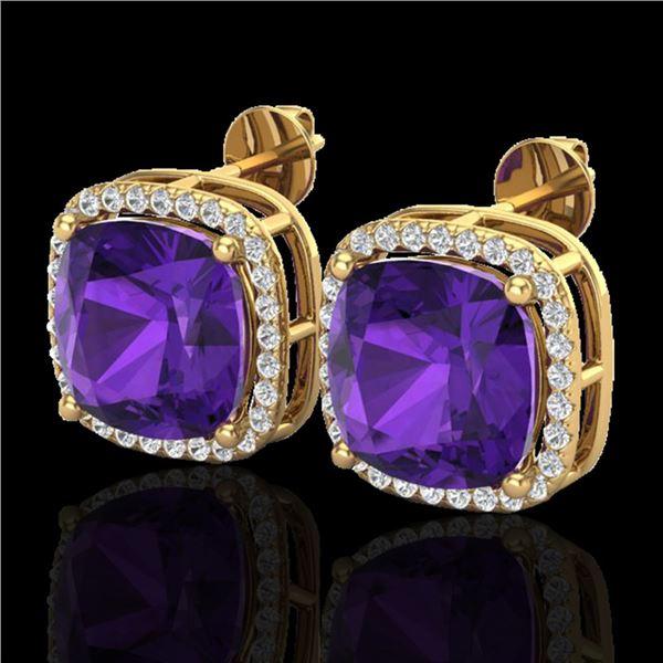 12 ctw Amethyst & Micro Pave VS/SI Diamond Earrings 18k Yellow Gold - REF-88Y2X