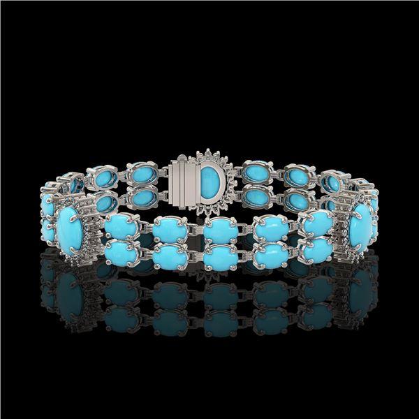 14.58 ctw Turquoise & Diamond Bracelet 14K White Gold - REF-254N5F