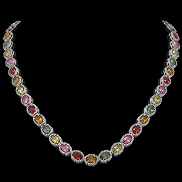 31.96 ctw Multi Color Sapphire & Diamond Micro Pave Necklace 10k White Gold - REF-674K4Y