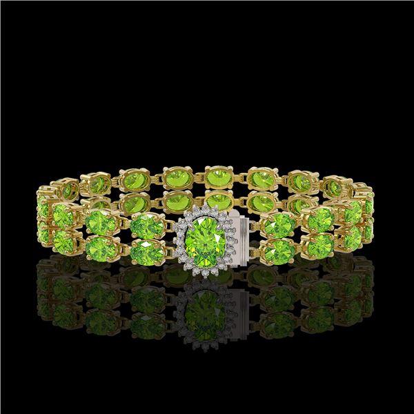 26.52 ctw Peridot & Diamond Bracelet 14K Yellow Gold - REF-244M8G