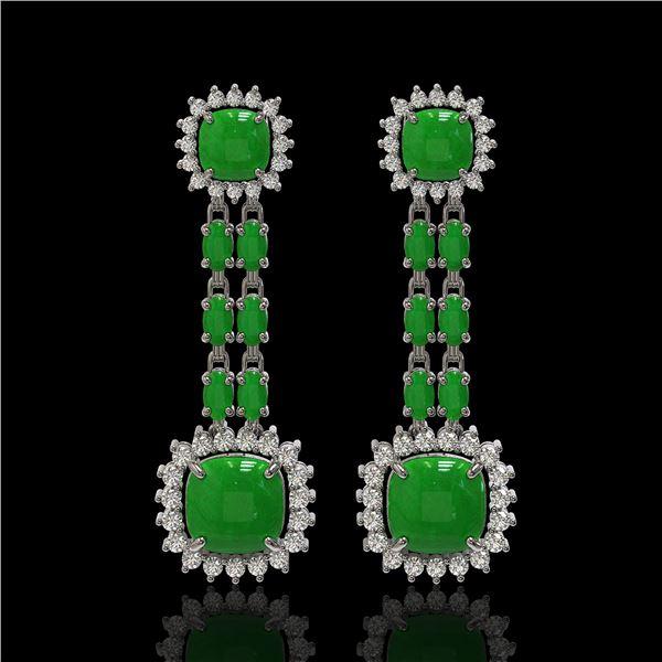 16.72 ctw Jade & Diamond Earrings 14K White Gold - REF-226R8K