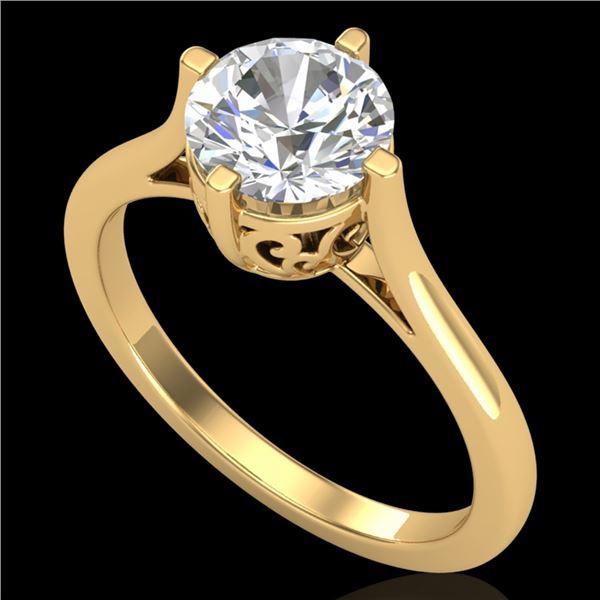 1.25 ctw VS/SI Diamond Solitaire Art Deco Ring 18k Yellow Gold - REF-490X9A
