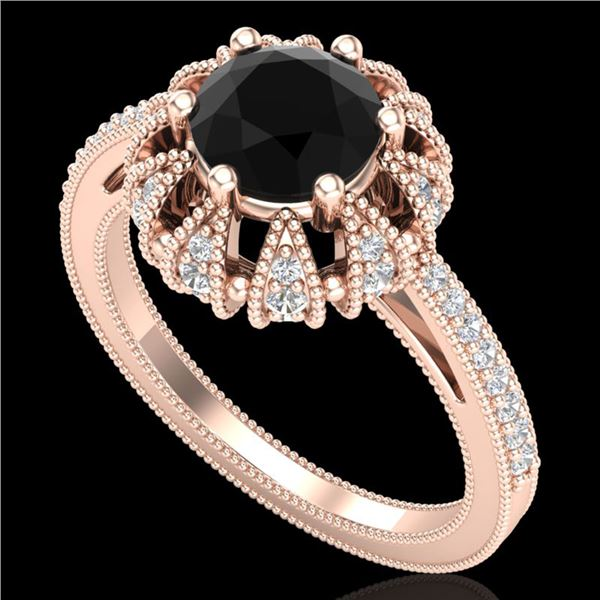 1.65 ctw Fancy Black Diamond Art Deco Micro Pave Ring 18k Rose Gold - REF-132W8H