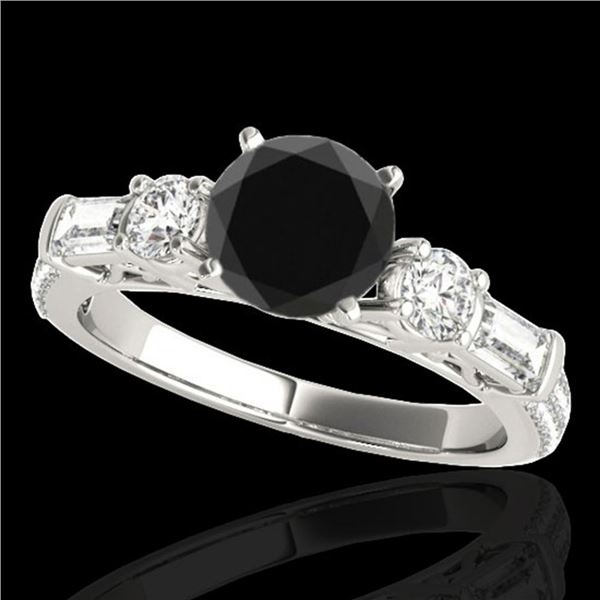2.5 ctw Certified VS Black Diamond Pave Solitaire Ring 10k White Gold - REF-104X2A