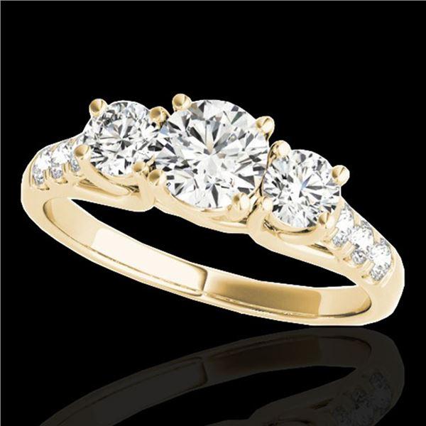 3.25 ctw Certified Diamond 3 Stone Ring 10k Yellow Gold - REF-357X3A