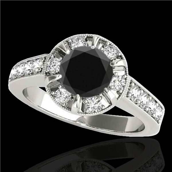 2 ctw Certified VS Black Diamond Solitaire Halo Ring 10k White Gold - REF-68A3N