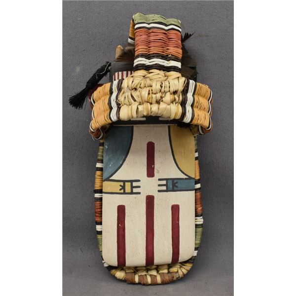 HOPI INDIAN FLAT DOLL AND BASKETRY CRADLE