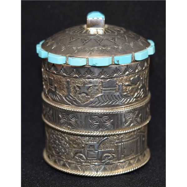 NAVAJO INDIAN SILVER CONTAINER