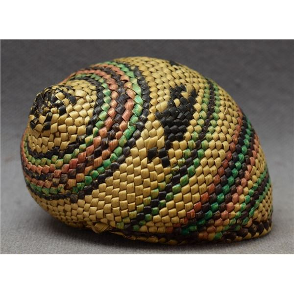MAKAH INDIAN BASKET COVERED SHELL