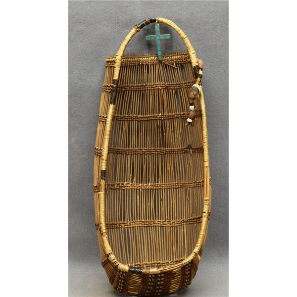 HUPA INDIAN BASKETRY TOY CRADLE