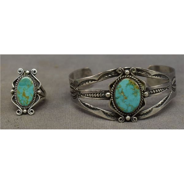 NAVAJO INDIAN BRACELET AND RING