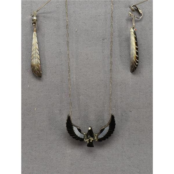 NAVAJO INDIAN NECKLACE AND EARRINGS