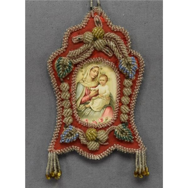 IROQUOIS INDIAN BEADED PICTURE FRAME