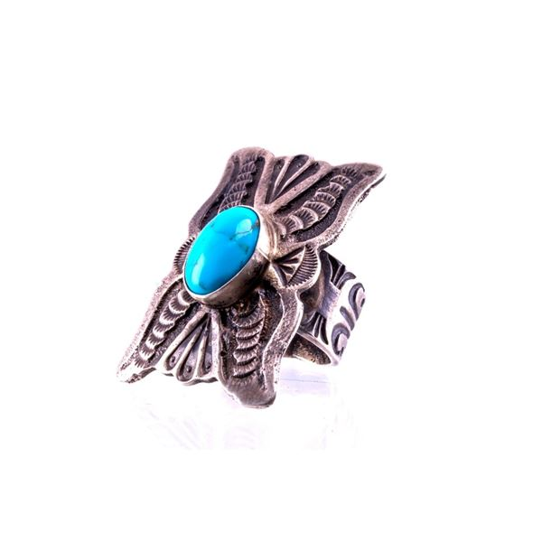 Navajo Shawn Cayatino Silver & Turquoise Ring