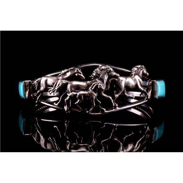 Navajo Running Bear Silver Turquoise Bracelet