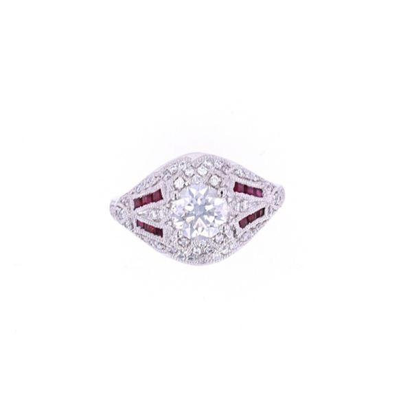 Art Deco Vintage Diamond & Rubies Platinum Ring
