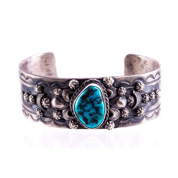 Navajo B. Lee Sterling Silver & Turquoise Bracelet