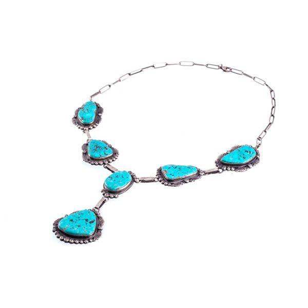 Navajo Gilbert Jones Silver & Turquoise Necklace