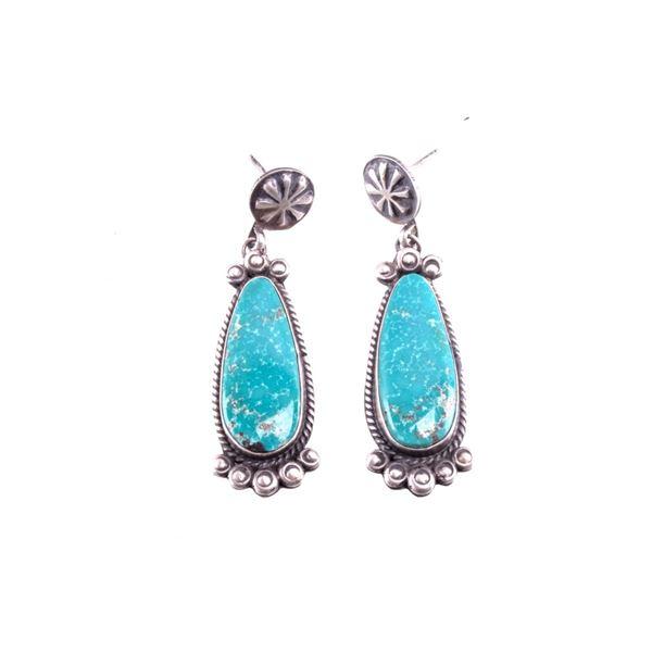 Navajo Gilbert Jones Silver & Turquoise Earrings